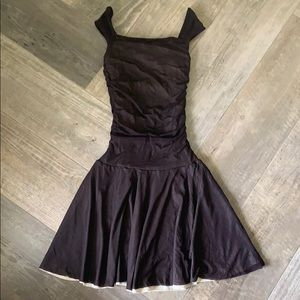 Brown ruched dress form fitting